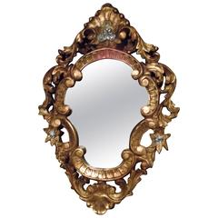 Rococo Style Mirror in Gold Leaf with Silver Accents, Hand-Carved Wood