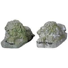 Pair of Early 20th Century Garden Cast Concrete Lion Statues