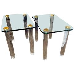 Pair of Pace Mid-Century Modern Side Tables with Chunky Lucite Legs