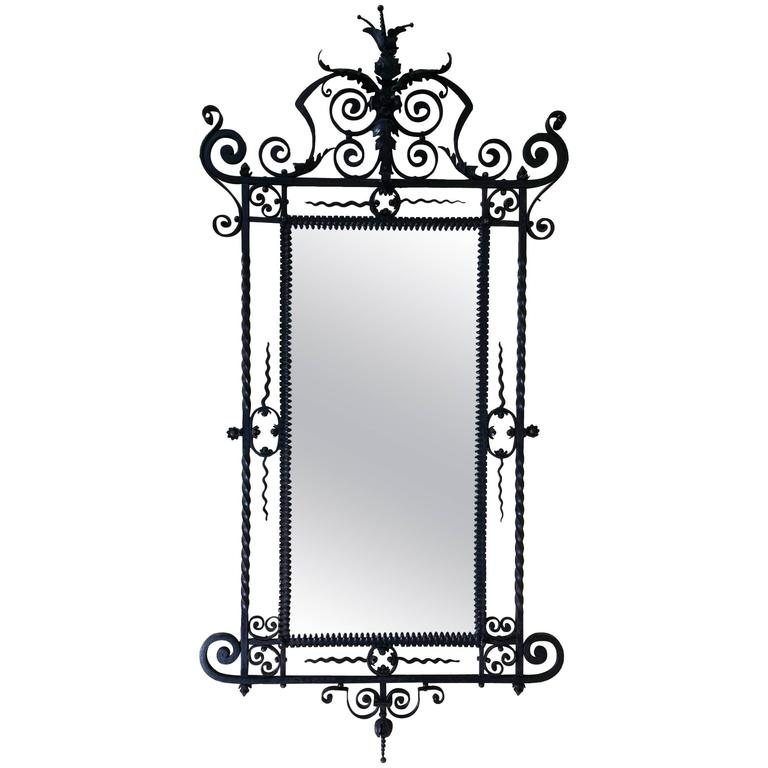 19th century large ornate wrought iron wall mirror for for Wrought iron mirror