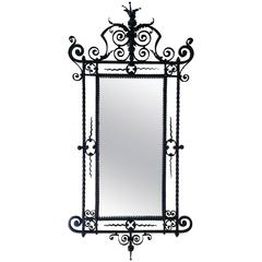 19th Century Large Ornate Wrought Iron Wall Mirror