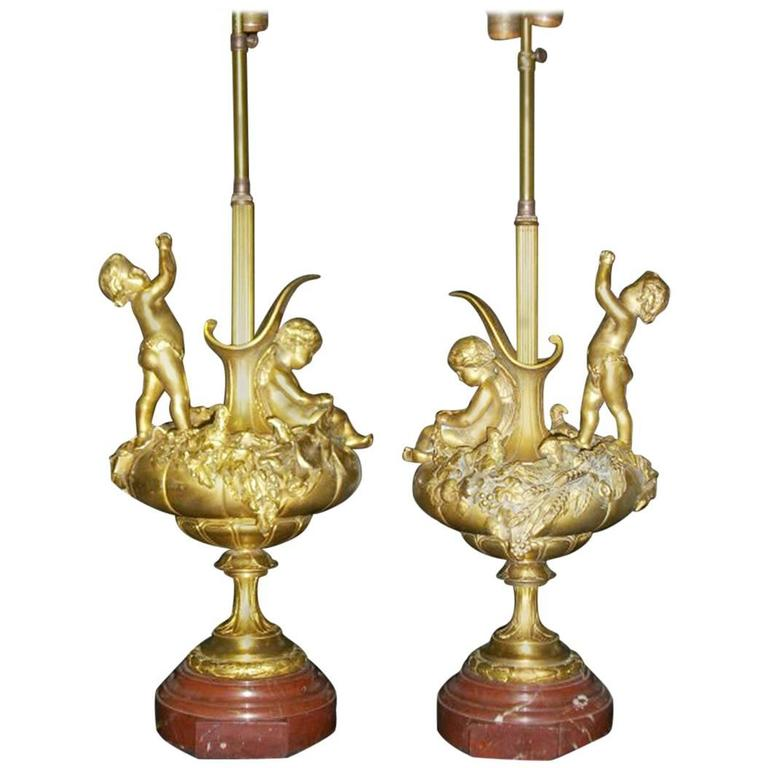 Pair of 19th Century Ormolu Figural Lamps