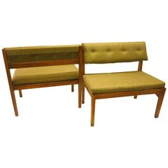 1950s American Mid-Century Modern Pair of Walnut Picnic Small Benches