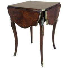 French Marquetry Inlaid Rosewood Centre Table with Four Folding Sides