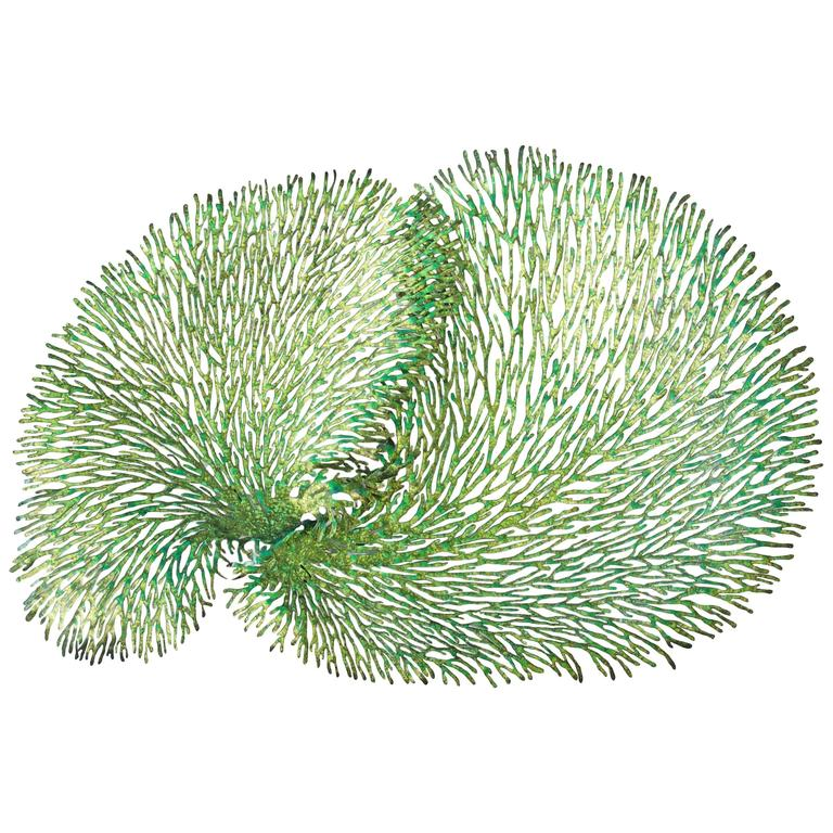 Green and Gold Iron Coral Wall Sculpture