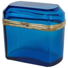 French Blue Glass Dresser Box