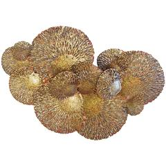 Gold and Red Iron Coral Wall Sculpture