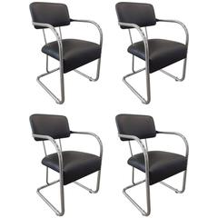 Set of Four Chrome Chairs by KEM Weber