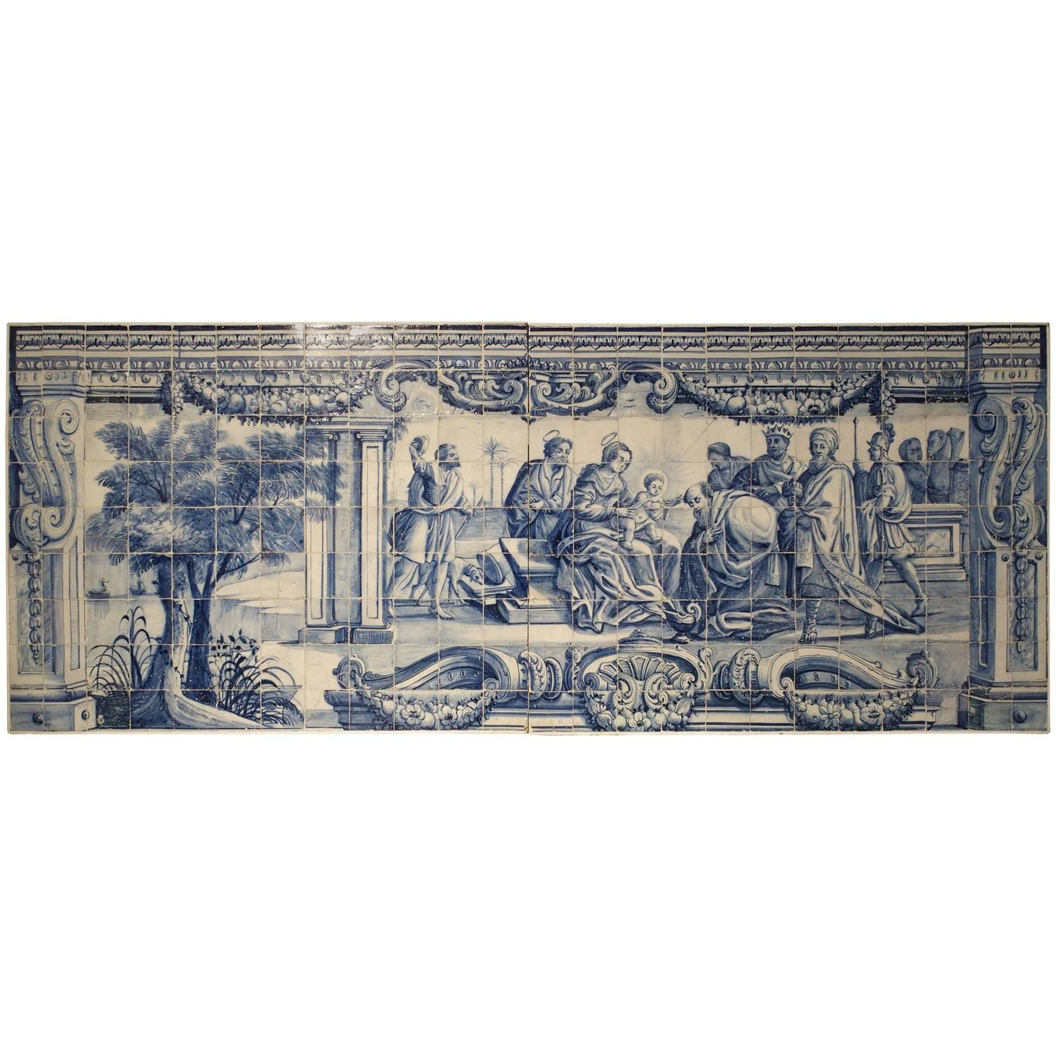 Large 18th century portuguese azulejo mural plaque at 1stdibs for Plaque recouvrement mural