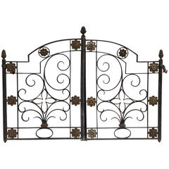 Antique little Gate Hand-Wrought Iron and Golden Brass, suitable as bed headboar