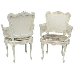 19th Century Pair of Louis XV Style White Lacquer Armchairs