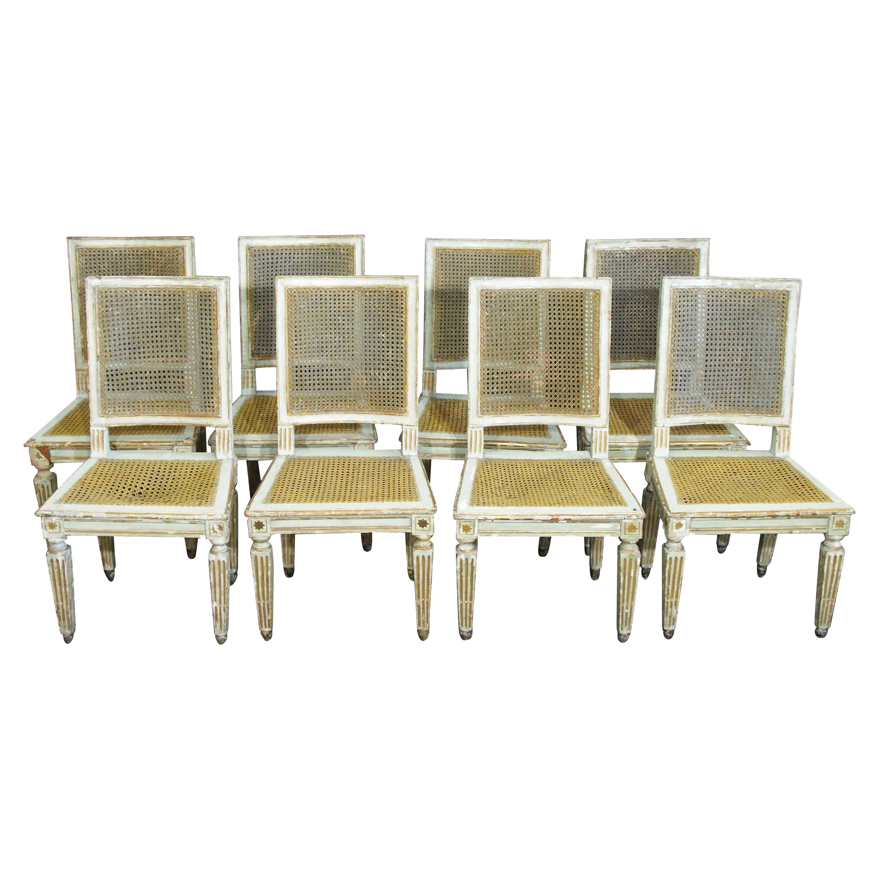 Set of Eight 18th Century Louis XVI Caned Chairs