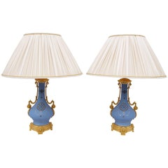 Pair of Blue Mat Paris Porcelain Lamps, 19th Century