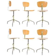 Six Pieces Rare Industrial 1950s German Swivel Drafting Stools/Chairs by Walter