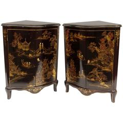 Pair of Chinese Style Black Lacquer Corner Cupboards from 1930