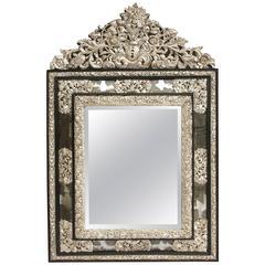 19th Century Great Black Wood Silvered Brass Pareclose Mercury Mirror