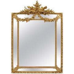 Napoleon III Period, Louis XVI Style Pareclose Gilt Stucco Mirror