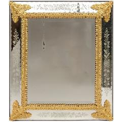 Pareclose Mirror in Gilt Bronze and Engraved Decor, 1880