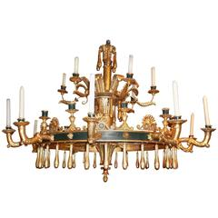 Neapolitan Neoclassical Gilt and Painted Wood Chandelier, Italy, circa 1815