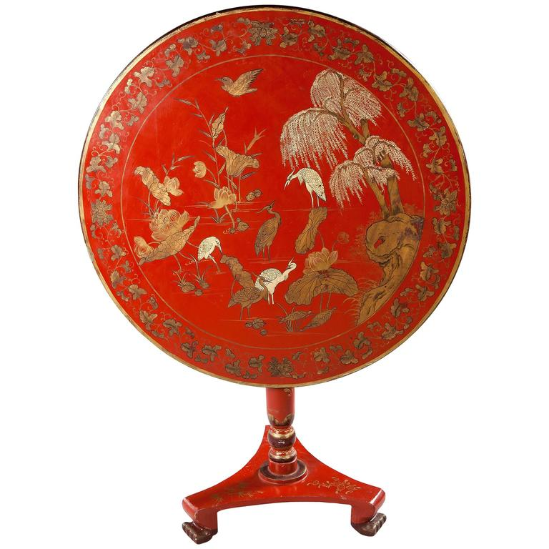 Chinese Export Red Lacquer Tilt-Top Table