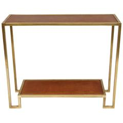 Modern Gilt Brass Narrow Console with Leather Top
