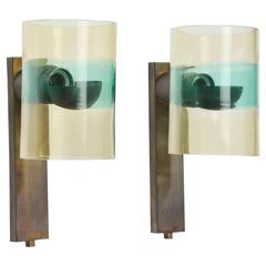 Pair of Glass and Bronzed Wall Lights by Flavio Poli