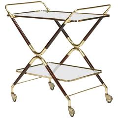 Italian Bar Cart by Cesare Lacca in Brass and Mahogany, 1950s
