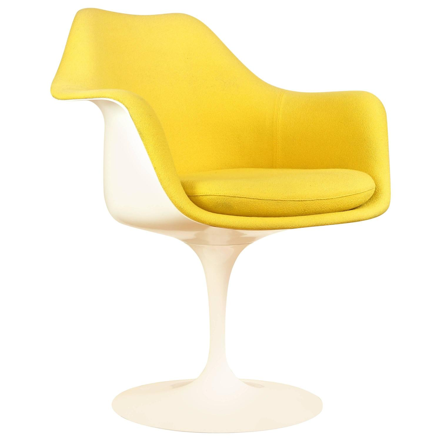 vintage tulip chair or armchair by eero saarinen for knoll yellow upholstery at 1stdibs. Black Bedroom Furniture Sets. Home Design Ideas