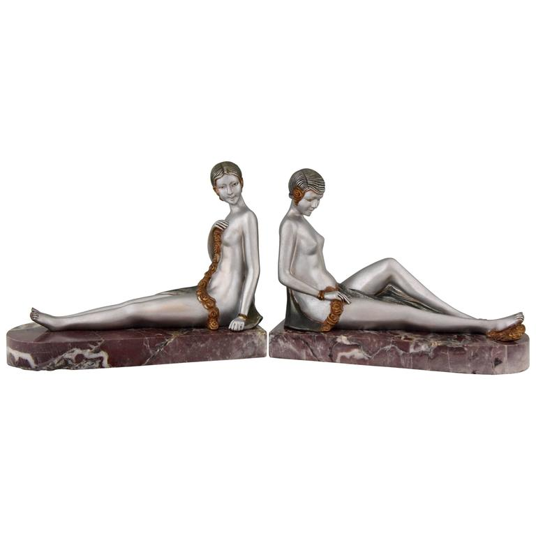 French Art Deco Bronze Nude Bookends by Scribe, 1930 1