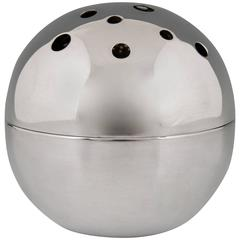 Silvered Spherical Flower Vase by Gio Ponti for Christofle, Gallia 1957