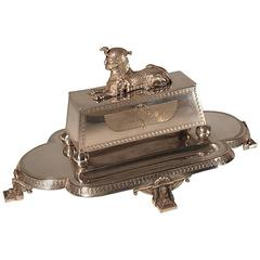 Egyptian Revival Combined Double Inkwell, Pen Tray and Stamp Box
