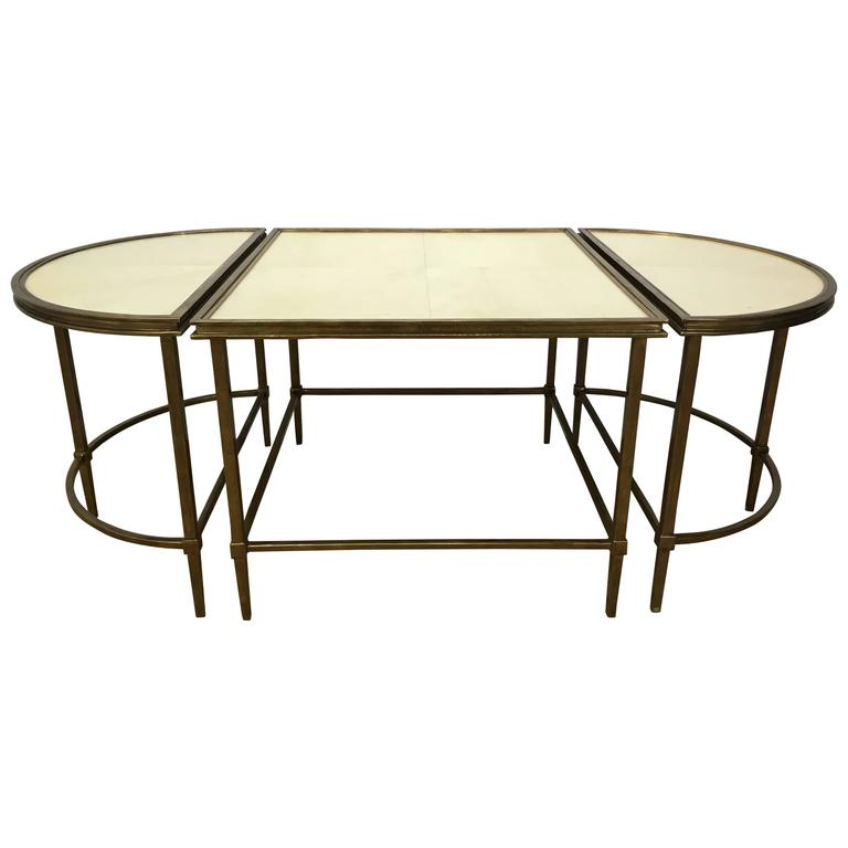 Three part bronze and parchment cocktail table for sale at for Cocktail tables parts