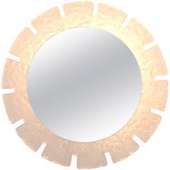 Austrian Modernist Circular Illuminated Acrylic Mirror by Kalmar