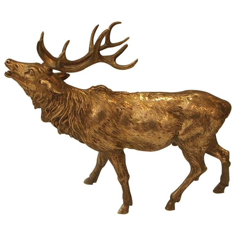 Large Silver Stag Sculpture, circa 1900