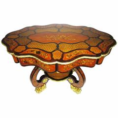 Fine Italian 19th Century Floral Marquetry Gilt Bronze-Mounted Center Table Desk