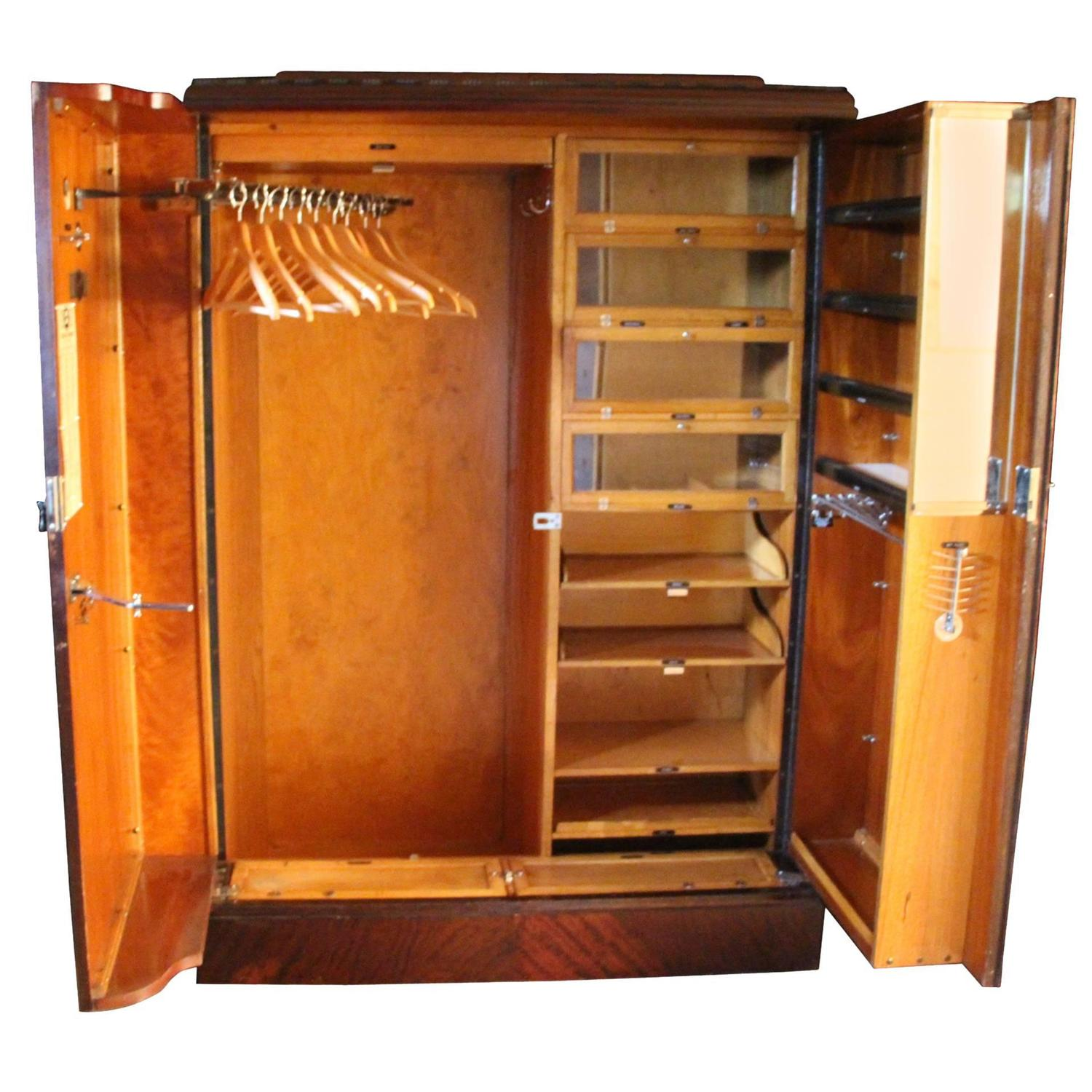 Beautiful 1930s Mahogany All Fitted Closet, Compactom Steamer Trunk At 1stdibs
