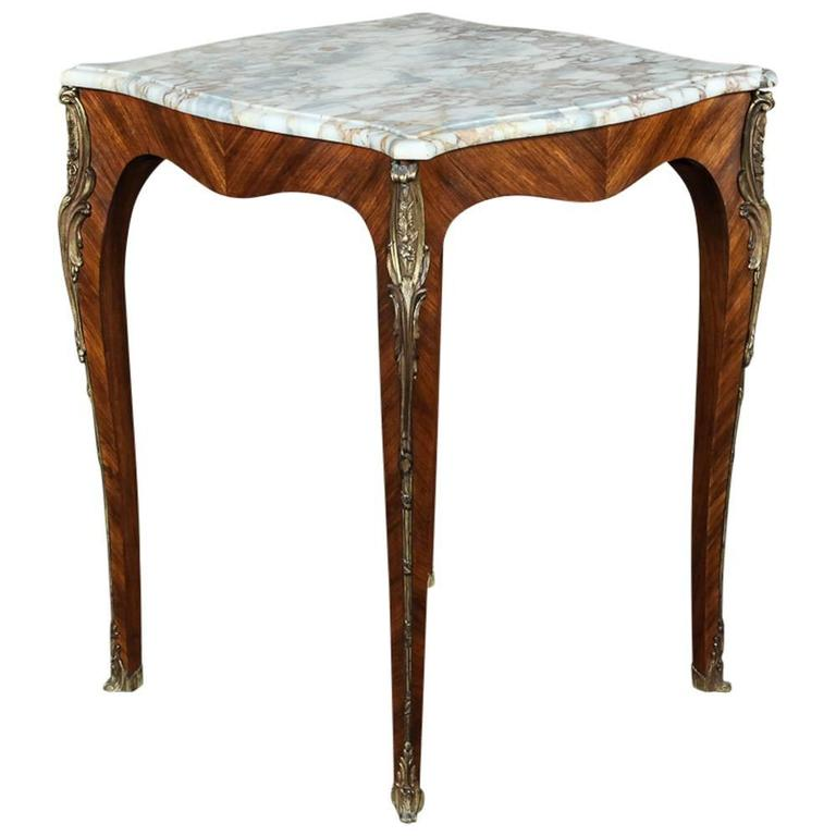 Louis XV French Marble -Top Marquetry Square End Table with Ormolu, Ca. 1890