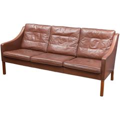 Børge Mogensen Cognac Leather Sofa, Model 2209
