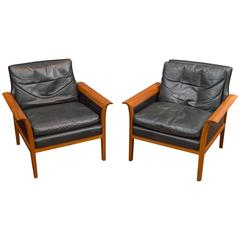 Hans Olsen Leather Lounge Chairs