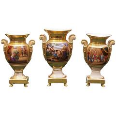 Set of Three Urn Form Vieux Paris Garniture