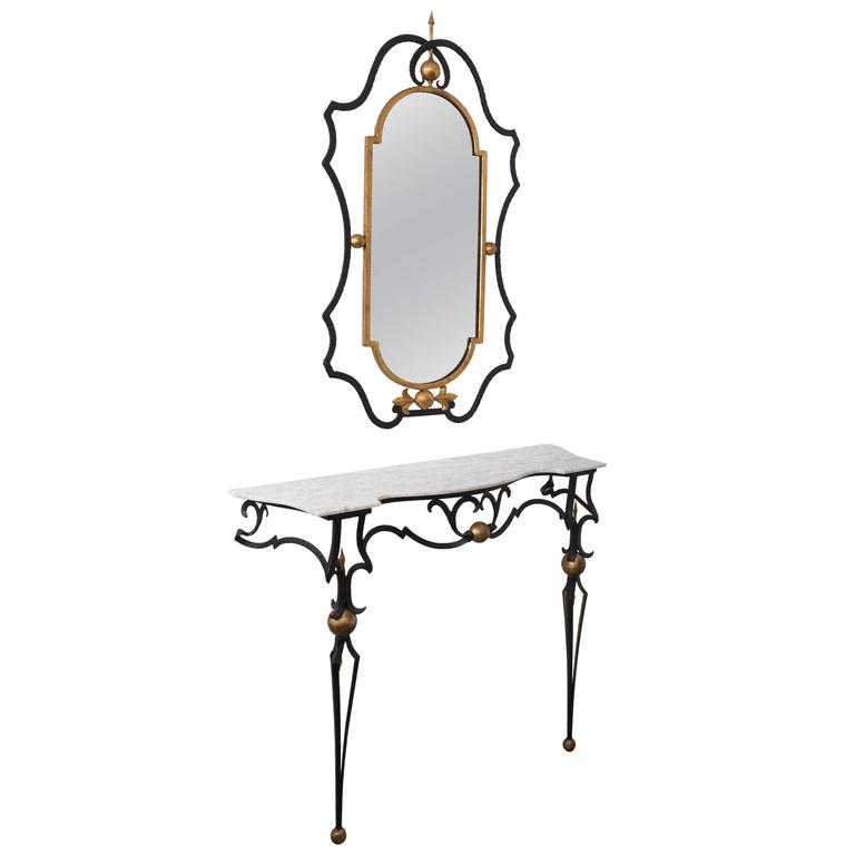 Italian Marble-Top Console Table and Mirror by Palladio