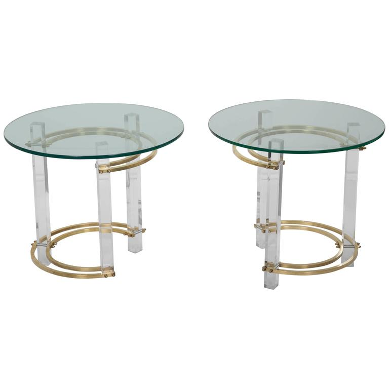 Pair of Charles Hollis Jones Brass & Lucite End Tables  For Sale