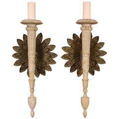 Pair of Monumental Italian Wall Sconces in Neoclassical Style