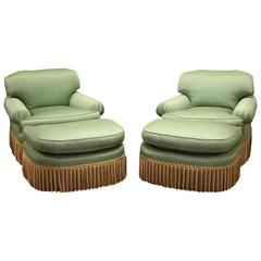 Pair of Hollywood Regency Style Club Chairs and Ottomans