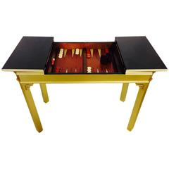 1960s Lacquered Fretwork Backgammon Game Table by Lane