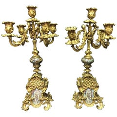 19th Century French Rococo Style Pair of Ormolu and Champleve Candelabra
