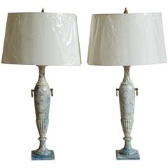 Pair of Italian Midcentury Blue Marble Lamps