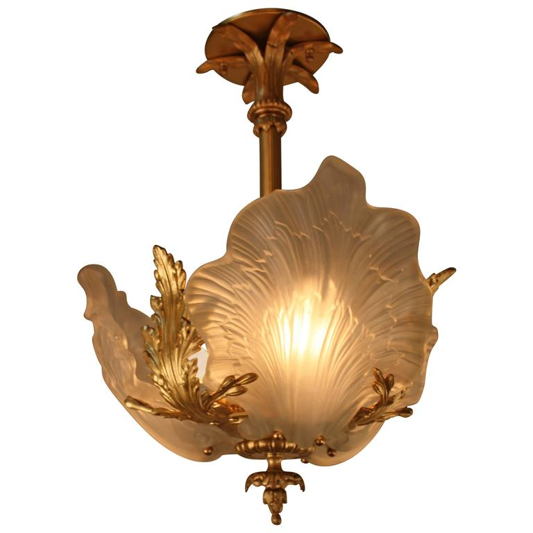 French Bronze And Glass Art Nouveau Chandelier At 1stdibs