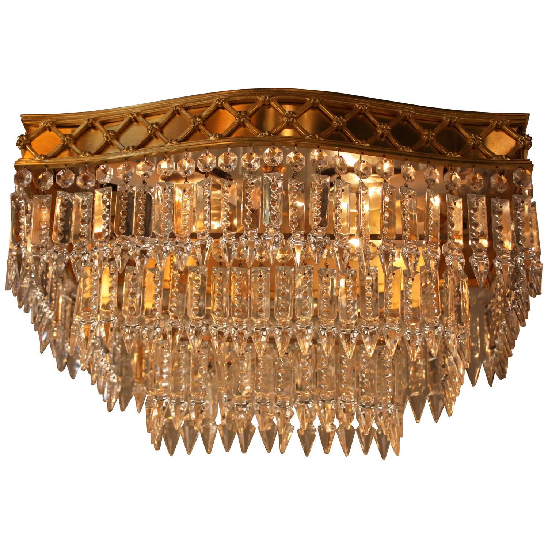 Elegant flush mount crystal and bronze chandelier at 1stdibs for Flush mount chandelier lighting
