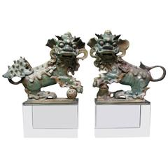 Pair of Chinese Glazed Ceramic Foo Dogs on Lucite Bases, 19th Century